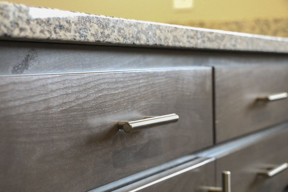 Contemporary hardware on all cabinets at WH Flats new luxury apartments in south Lincoln NE 68516