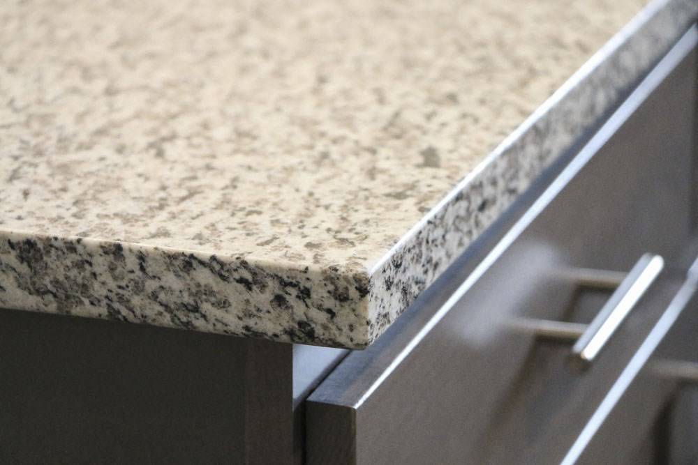 Light granite countertop in kitchen at WH Flats new luxury apartments in south Lincoln NE 68516