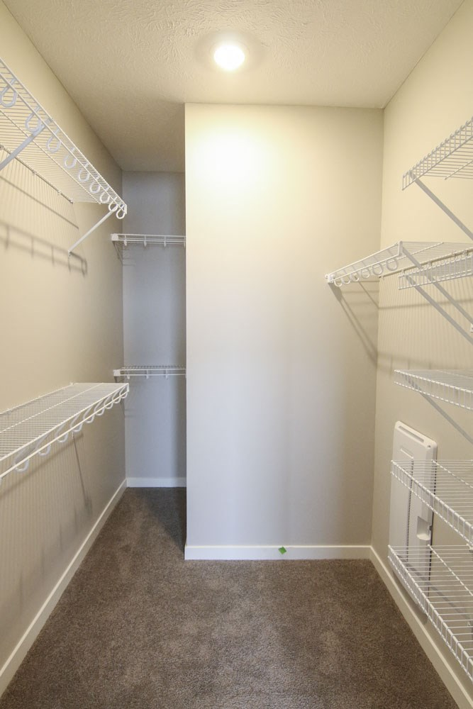 Large walk-in closet at WH Flats new luxury apartments in south Lincoln NE 68516