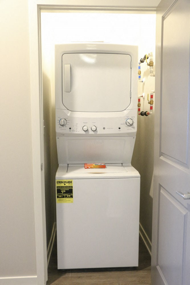 Washer and dryer in every unit at WH Flats new luxury apartments in south Lincoln NE 68516