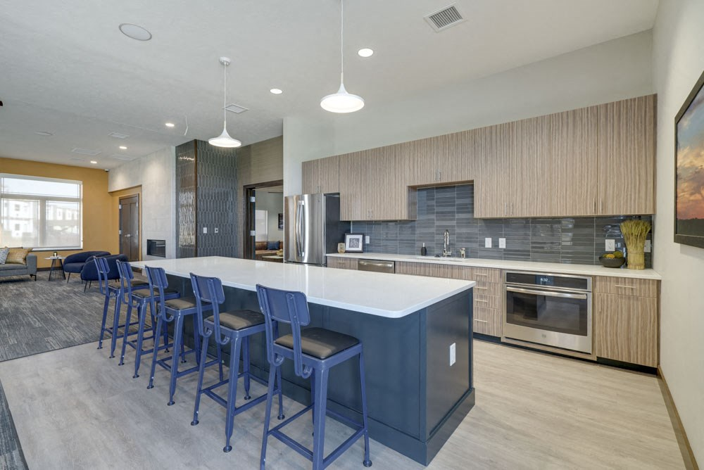 Kitchen for residents at WH Flats luxury apartments in south Lincoln NE