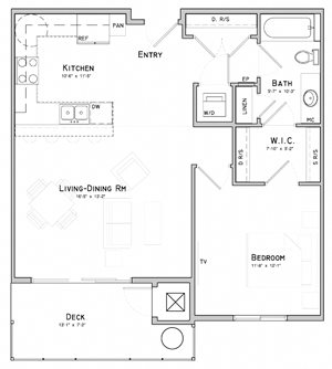 One bedroom layout-Azalea floor plan for rent at WH Flats in South Lincoln NE