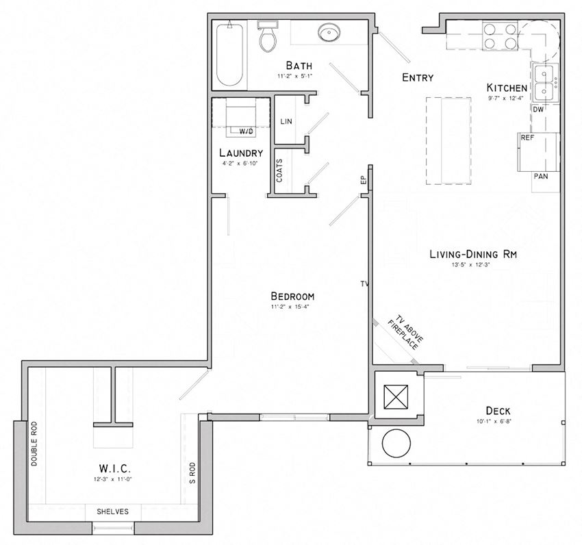 One bedroom layout-Dahlia floor plan for rent at WH Flats in South Lincoln NE