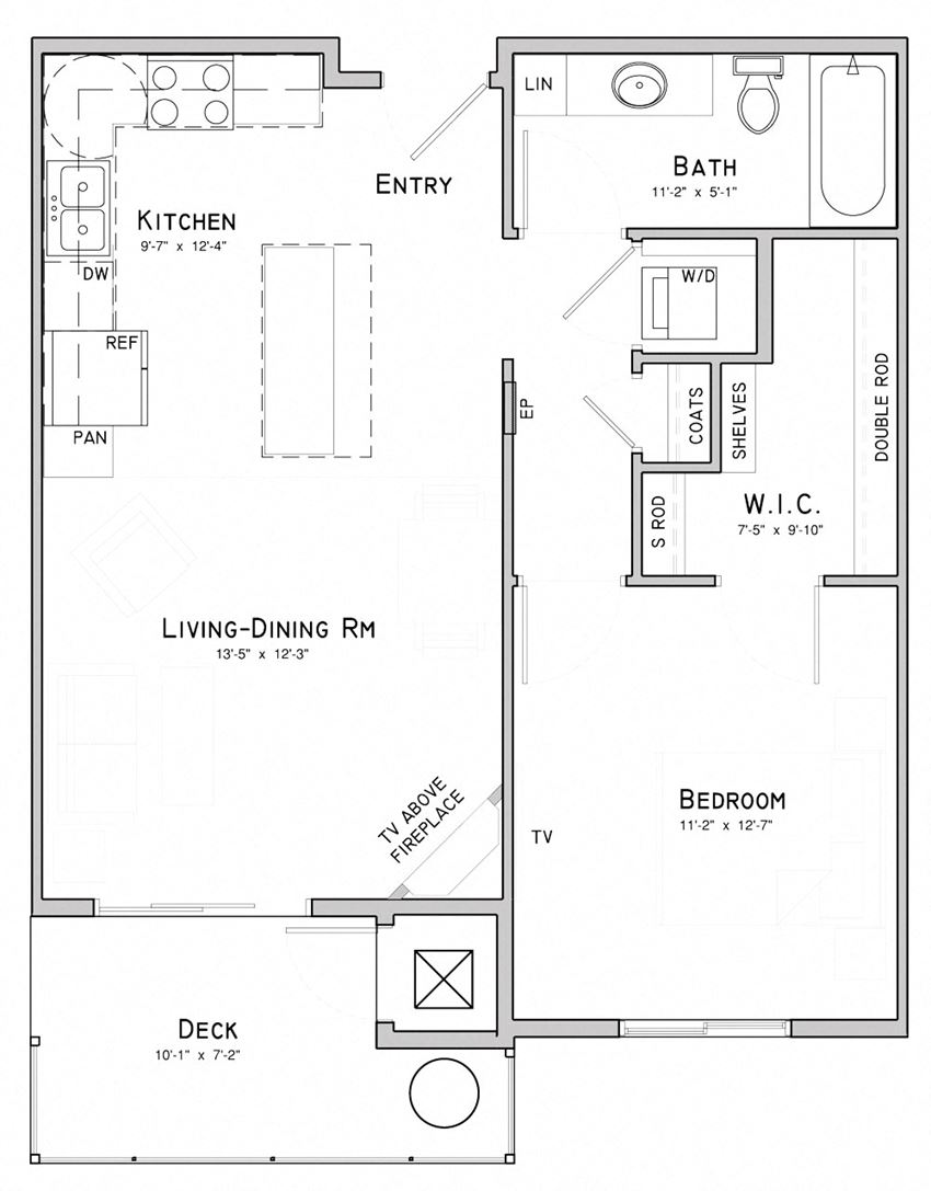 One bedroom layout-Lilac floor plan for rent at WH Flats in South Lincoln NE