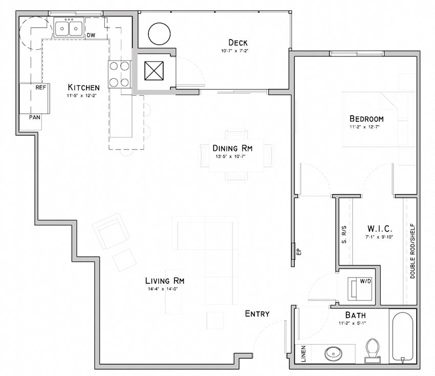 One bedroom layout-Lotus floor plan for rent at WH Flats in South Lincoln NE