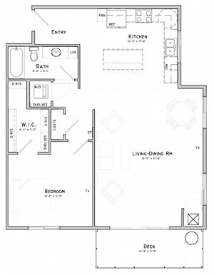 One bedroom layout-Mimosa floor plan for rent at WH Flats in South Lincoln NE