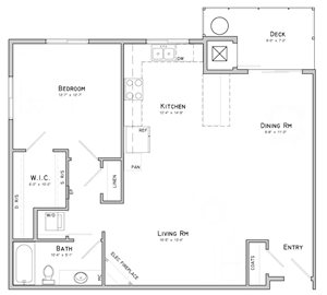 One bedroom layout-Peony floor plan for rent at WH Flats in South Lincoln NE