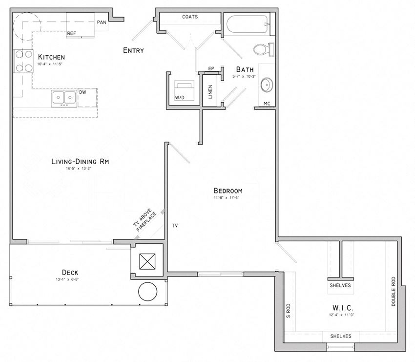 One bedroom layout-Wisteria floor plan for rent at WH Flats in South Lincoln NE