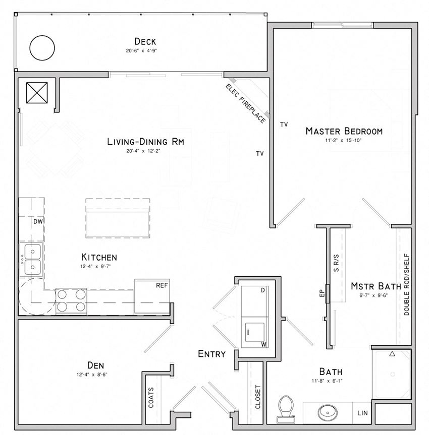 One bedroom apartment with den-Orchid layout for rent at WH Flats in South Lincoln NE