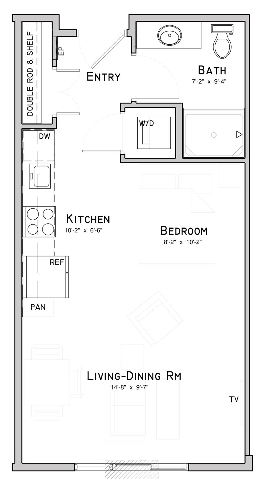 Studio apartment-Clover layout at WH Flats in south Lincoln NE
