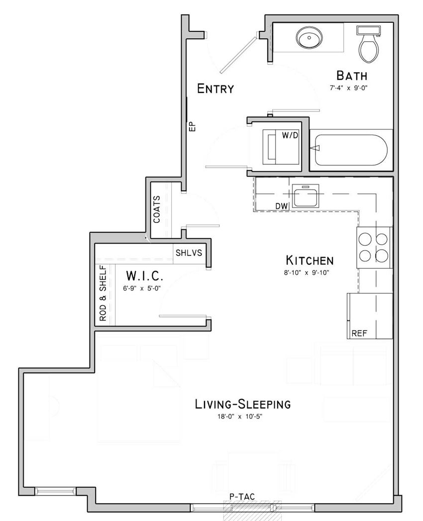 Studio apartment-Iris layout at WH Flats in south Lincoln NE