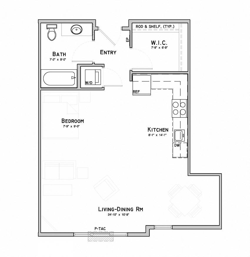 Studio apartment-Ivy layout at WH Flats in south Lincoln NE
