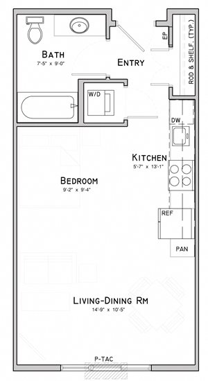 Studio apartment-Poppy floor plan at WH Flats in south Lincoln NE