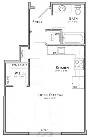 Studio apartment-Sage layout at WH Flats in south Lincoln NE