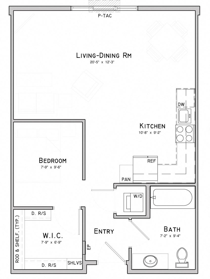 Studio apartment-Lily layout at WH Flats in south Lincoln NE