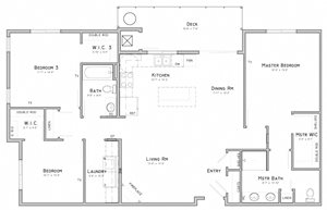 Three bedroom apartment-Gardenia floor plan for rent at WH Flats in south Lincoln NE