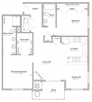 Two bedroom apartment-Goldenrod floor plan for rent at WH Flats in south Lincoln NE