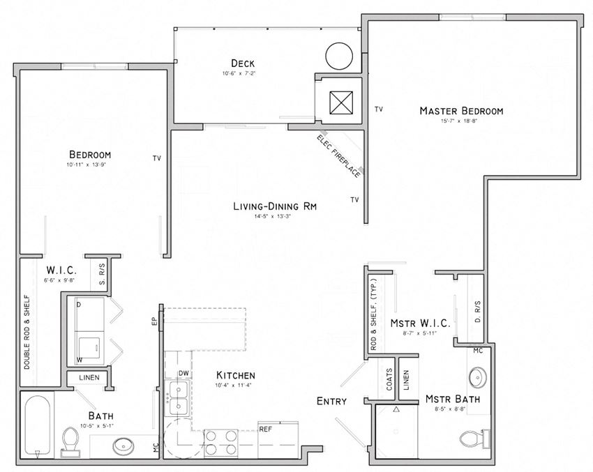 Two bedroom apartment-Lavender floor plan for rent at WH Flats in south Lincoln NE