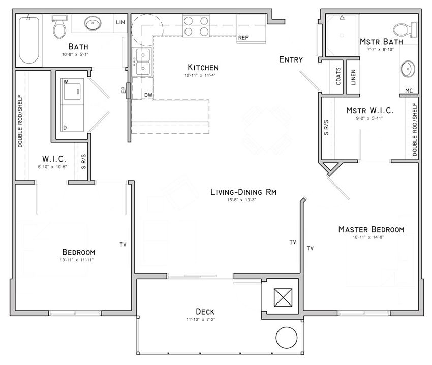 Two bedroom apartment-Magnolia floor plan for rent at WH Flats in south Lincoln NE