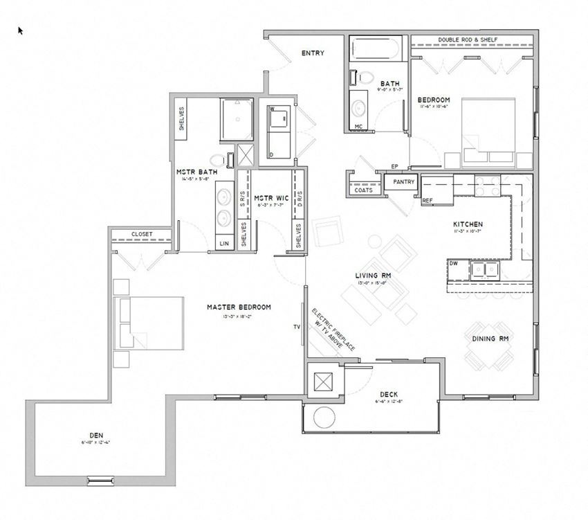Two bedroom apartment with den-Marigold floor plan for rent at WH Flats in south Lincoln NE