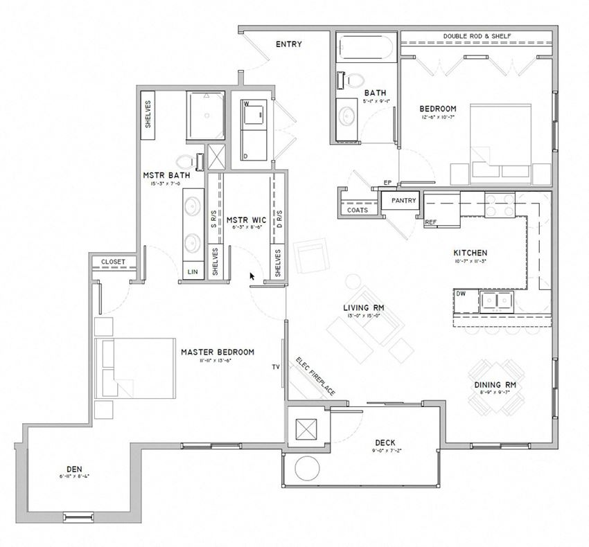 Two bedroom apartment with den-Snowdrop floor plan for rent at WH Flats in south Lincoln NE