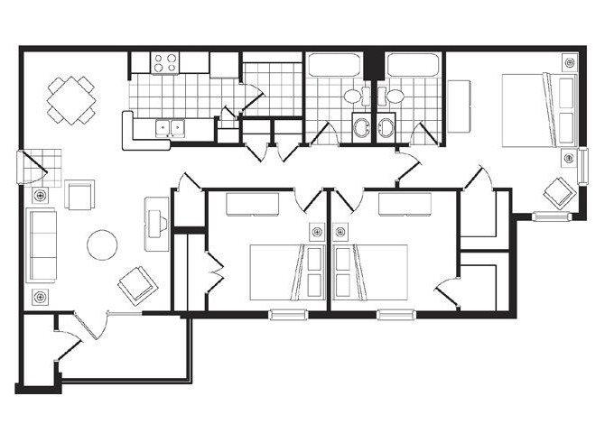 3 BR_2 BA Floor Plan 1