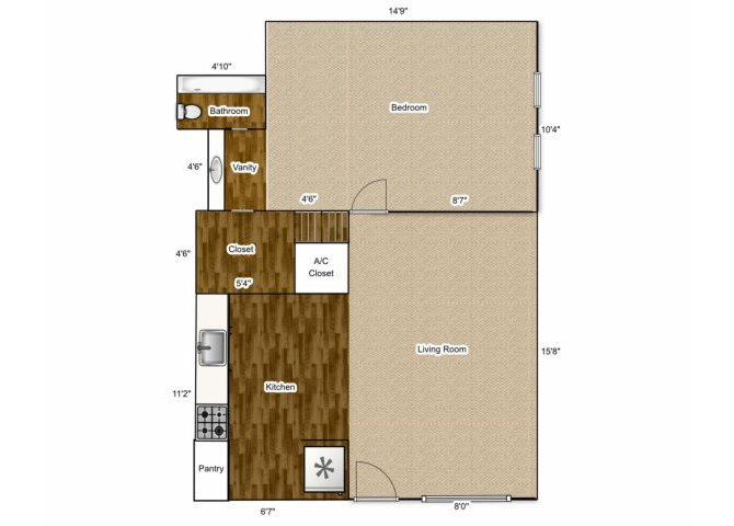 1 BEDROOM 1BATHROOM Floor Plan 1