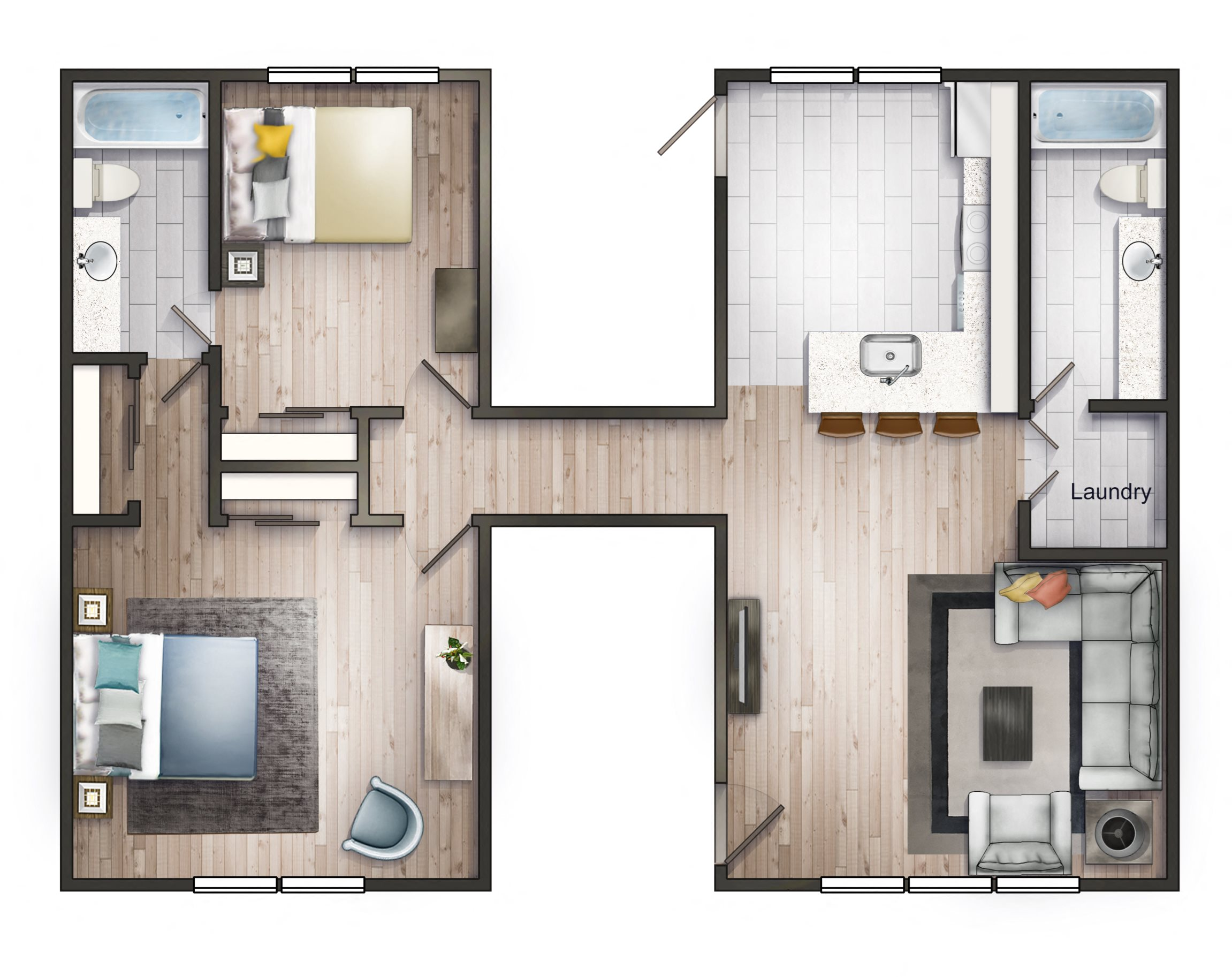 V-APARTMENTS 2X2 Floor Plan 2