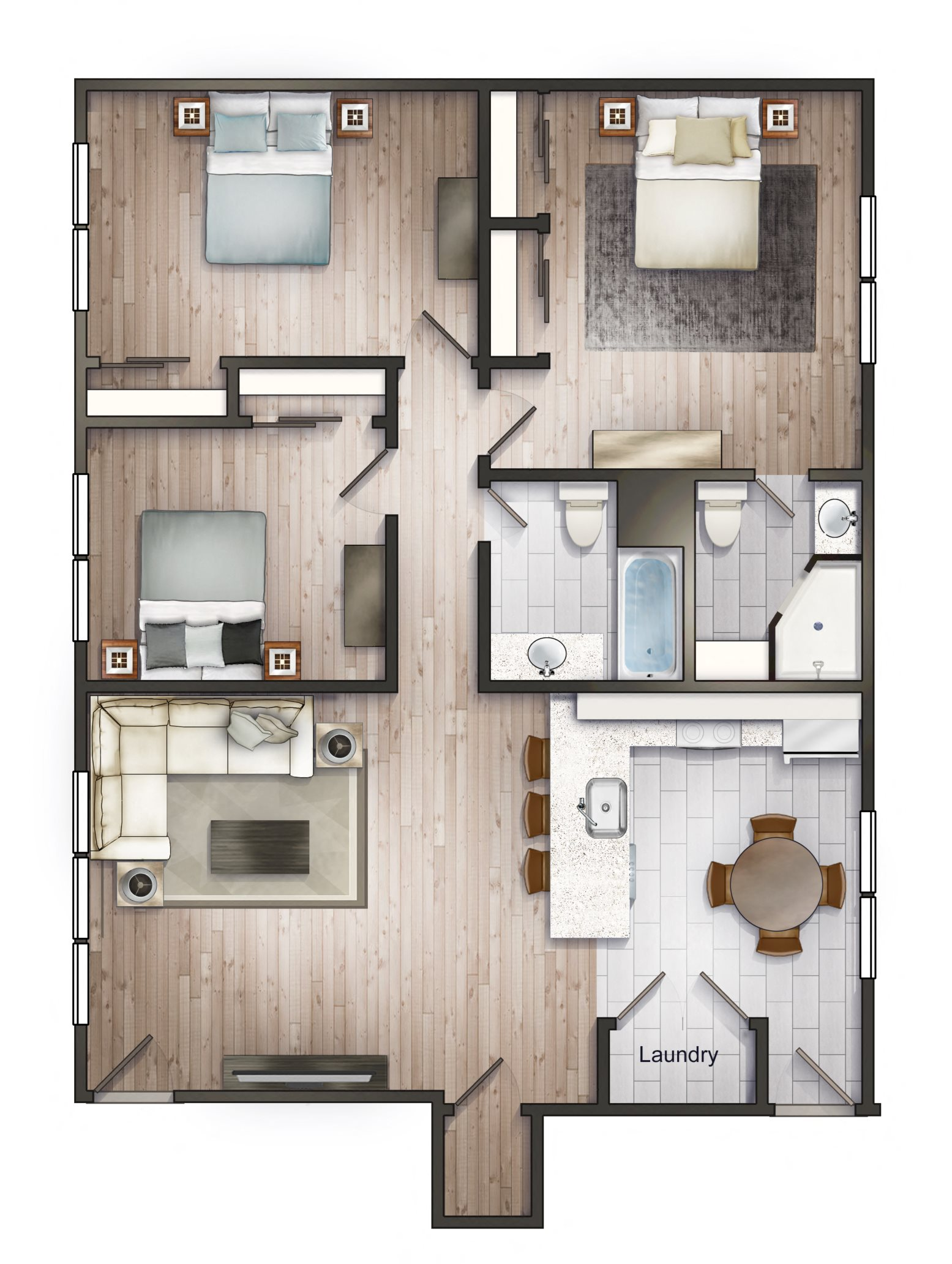 V-APARTMENTS 3X2 Floor Plan 3