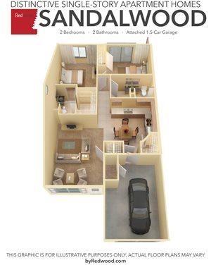 Sandalwood- 2 Bed, 2 Bath,1-Car Garage