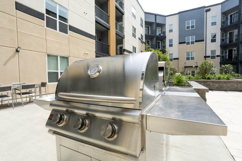 Large stainless steel BBQ grill