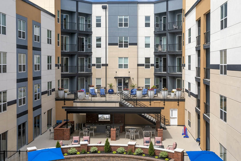 Two story patio in an enclosed courtyard