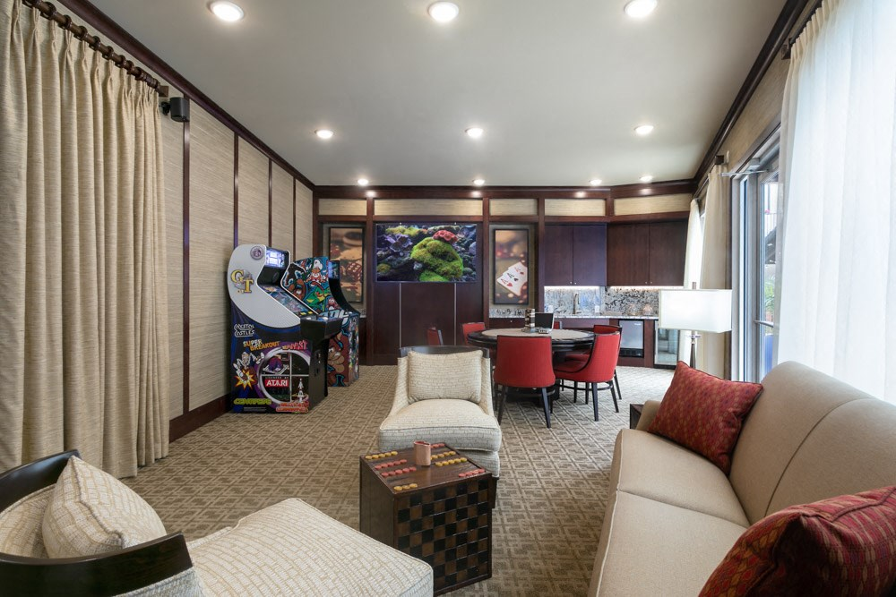 Bright community space with televisions