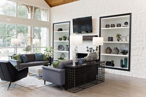 lounge area with grey couches