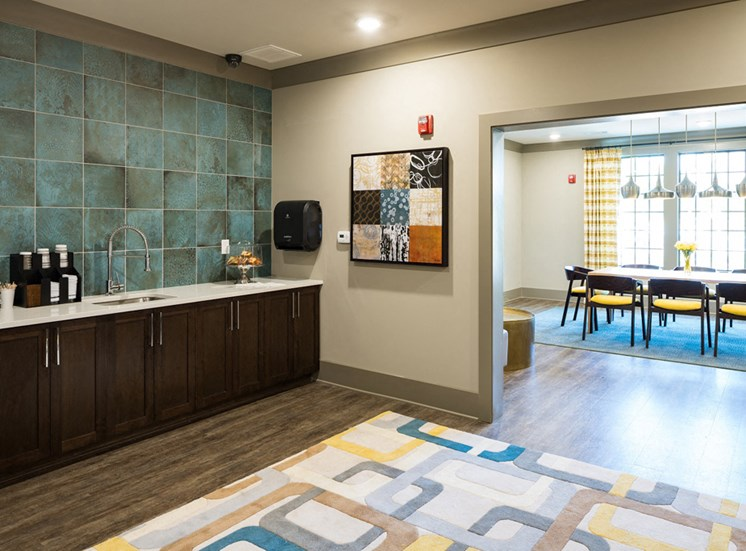 Cyber Cafe with Coffee Station and Work Areas for Residents at Echo at North Pointe Center Apartment Homes, Alpharetta, GA 30009