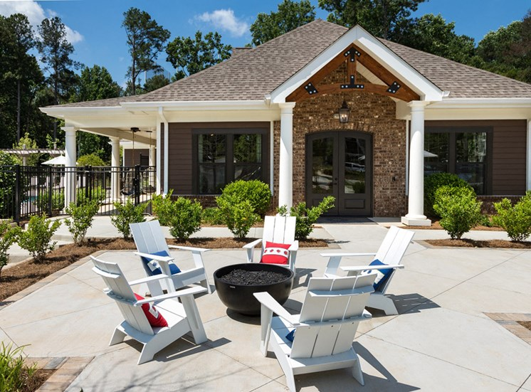 Outdoor Grilling Area with Seating & Fire Pit at Echo at North Pointe Center Apartment Homes, Alpharetta, GA 30009