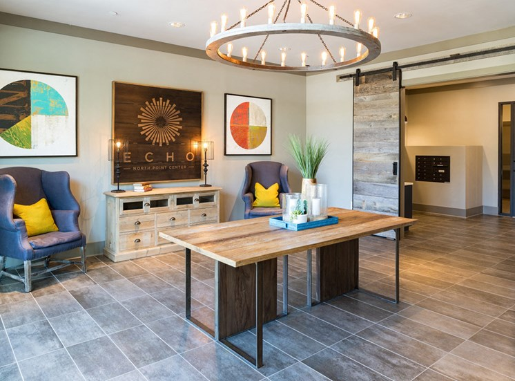 Stunning Modern Design Community Clubhouse with Ample Space and Amenities at Echo at North Pointe Center Apartment Homes, Alpharetta, GA 30009