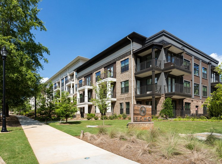 Modern Exteriors Give a Wonderful First Impression of Echo at North Pointe Center. Enjoy our Endless Amenities and Superb Location at Echo at North Pointe Center Apartment Homes, Alpharetta, GA 30009