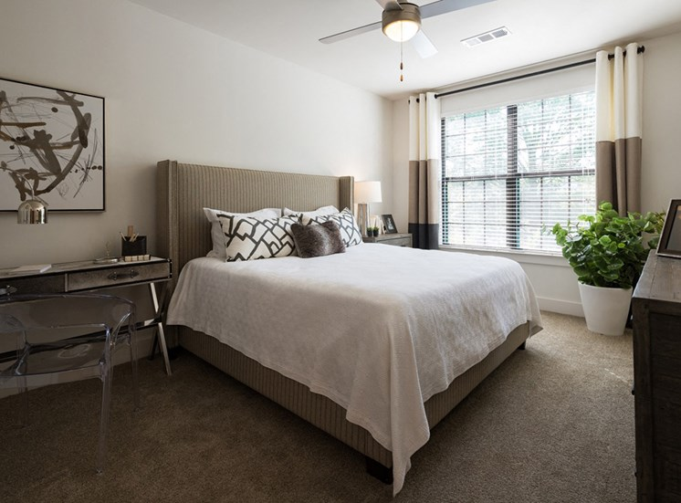 Master Bedrooms at Echo have Deep Walk-in Closets and Bright Open Windows at Echo at North Pointe Center Apartment Homes, Alpharetta, GA 30009