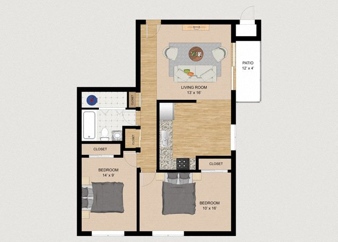 Two Bedroom One Bathroom Floor Plan at Whispering Trails