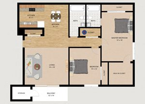 Two Bedroom Two Bathroom Floor Plan at Whispering Trails
