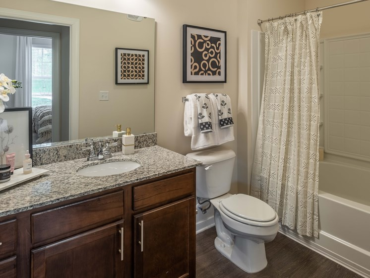 Luxurious Bathrooms at Abberly CenterPointe Apartment Homes by HHHunt, Midlothian, Virginia