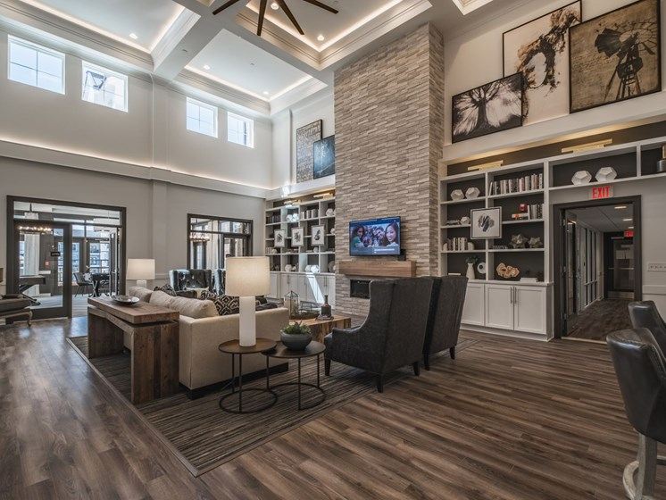 Large Clubhouse With Ample Sitting And Television at Abberly CenterPointe Apartment Homes by HHHunt, Midlothian, VA