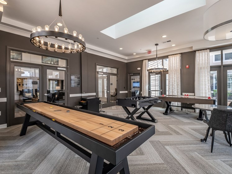 Billiards Table In Game Room at Abberly CenterPointe Apartment Homes by HHHunt, Midlothian, 23114