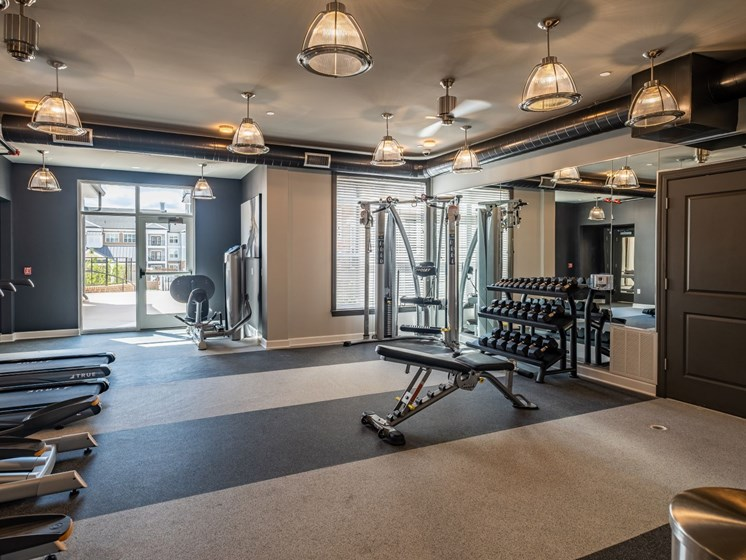 Fitness Center With Modern Equipment at Abberly CenterPointe Apartment Homes by HHHunt, Midlothian, VA, 23114