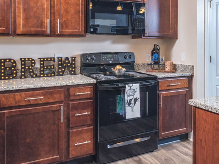 Mocha Wood Cabinets at Abberly CenterPointe Apartment Homes, Midlothian