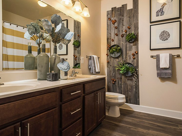 Dual Sink Vanities at Abberly CenterPointe Apartment Homes, Virginia, 23114