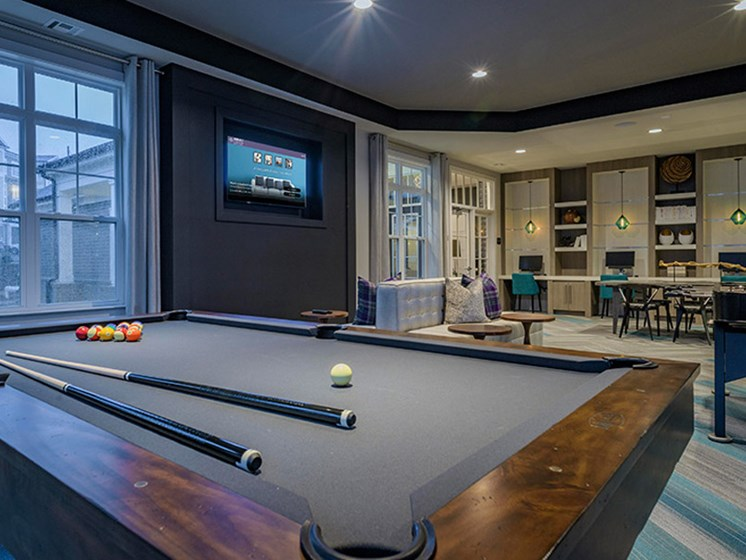 Billiards Table at Abberly CenterPointe Apartment Homes, Midlothian, VA, 23114