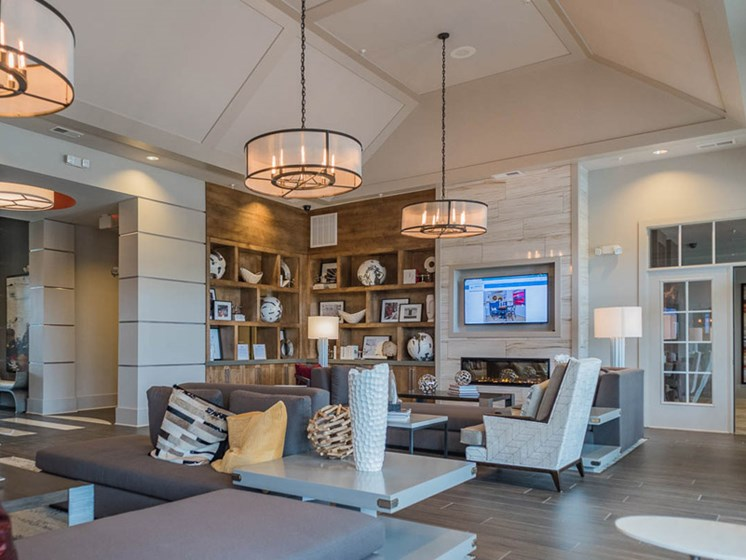 Vibrant Clubhouse with 4K Ultra HD Smart TVs  at Abberly CenterPointe Apartment Homes, Virginia, 23114