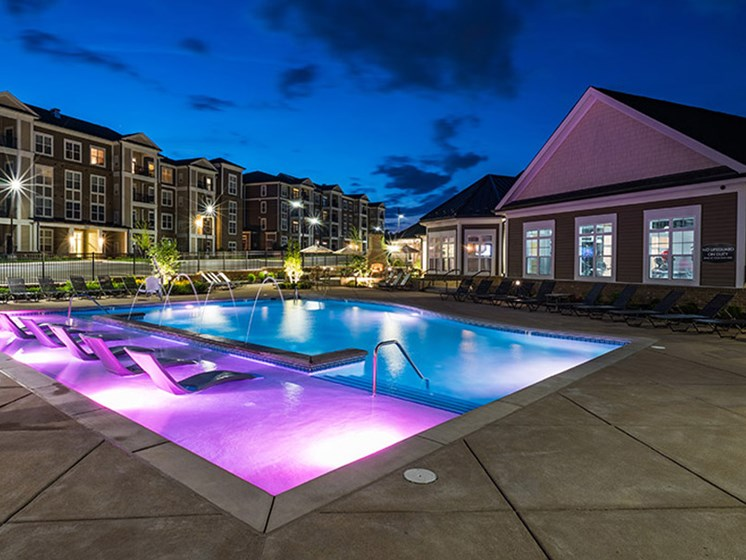 Glimmering Pool at Abberly CenterPointe Apartment Homes, Virginia